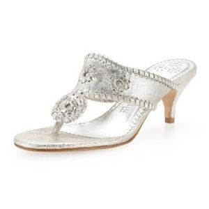 Jack Rogers Silver Leather Heeled Sandals Size 8